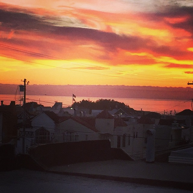 Sunsets from our #sunset #rooftop.  Dang ninja, you so fly.  #sanfrancisco #california #oceanbeach