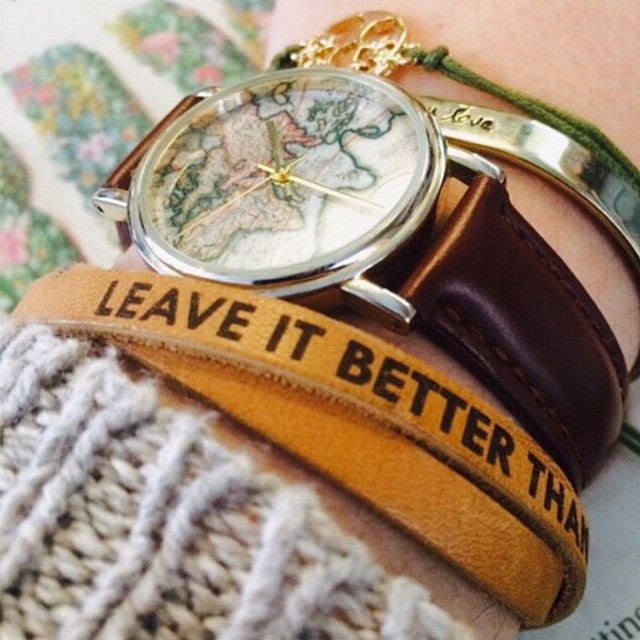 """A reminder I like to keep close by."" Photo and killer style by @baileynachmack! Check out ParksProject.us to grab your own Leave It Better bracelet. (Link in profile) #madeinUSA #parksproject #leaveitbetterthanyoufoundit"