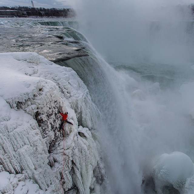 Climbing up Niagara Falls? Check. Congrats @realwillgadd, Captain of Adventure!  In one hour we'll be releasing video footage of his historic climb. If you can't wait(and you shouldn't) click the link in our profile for the full video and story....