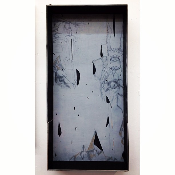 """Diorama of the Adolescent Wet Dream"" #finefarts #oil #scratchout #shadowbox #diorama #adolescentwetdream #nightmares #subconscious #wood #ambrosia #escape #explorethemind"
