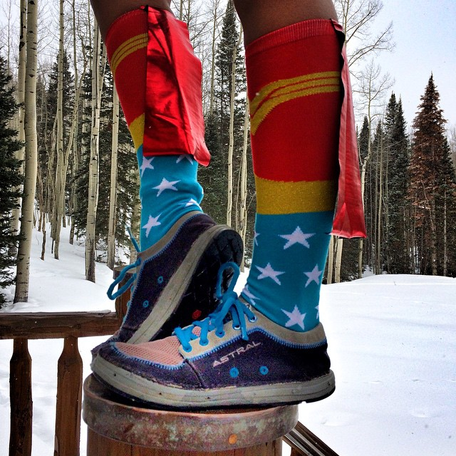 I don't always fly....but when I do, I wear my fancy socks and @astralfootwear #brewess shoes! #Wonderwoman #takeflight