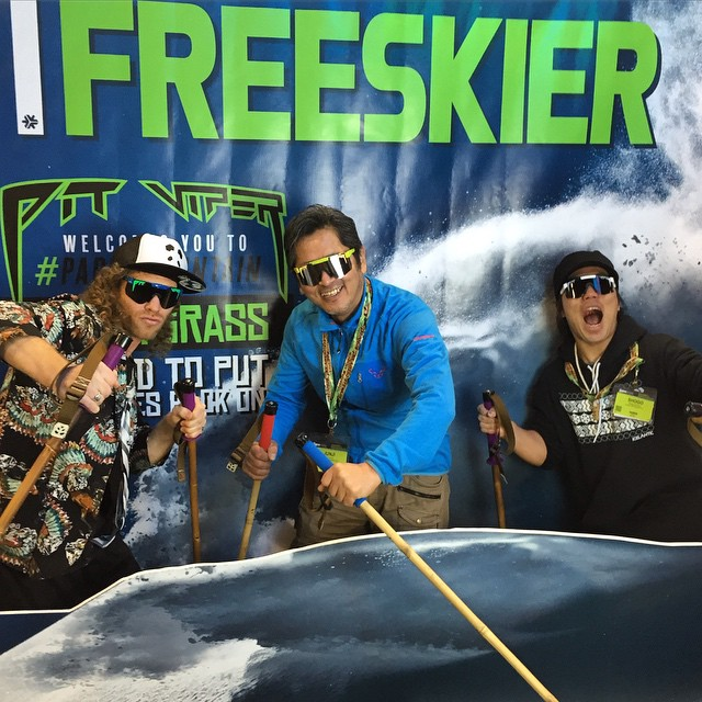 At SIA? Swing by Pit Viper booth No. 1146 and get your photo on the cover of Freeskier! TanSnowMan and his good friends Junji and Shogo launched into a Class 4C #PANDALANCHE earlier today! #TribeUP SIA!  Photo: @macdeisul  #PandaPoles #PitViperSIA
