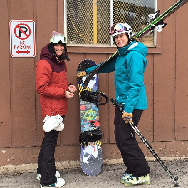 Parking for shred betties only @hollyjakusz @laurenschlanger #VailLive #Snowboarding #Colorado #Outdoorwomen #alpinebabes
