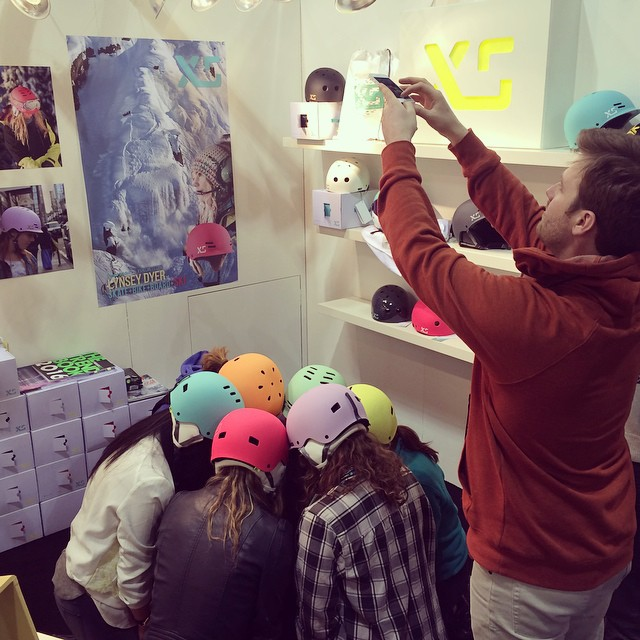 Strange happenings at the @lynseydyer poster signing at the @xshelmets booth @siasnowsports! Thanks @freeskiermagazine for joining the fun #SIA15 #xshelmets #rainbow #forgirlswhoshred