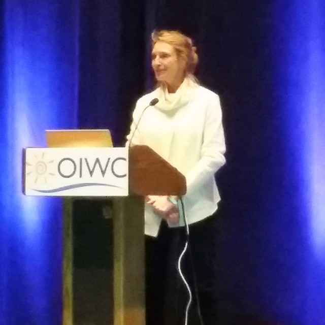 "Sales Manager Linda Rodney receiving the 2015 pioneering woman award winner @oiwc #sia15 thanking all the women in the #snowsports industry for moving away from ""shrinking and pinking"" and creating gear women want. #sisterhoodofshred"