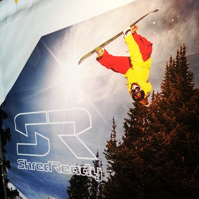 Shred Ready team manager and athlete @brentmeyersnow making a double appearance at #SIA15 in person and upside down!