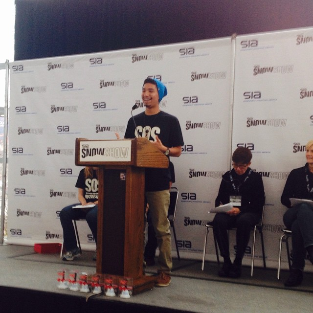 SOS youth speaking at the 6th annual Youth Summit at #sia15.  Thank you to all who attended and spoke! @siasnowsports @chillfoundation @stokedorg @yeskidsboston #inspireyouth