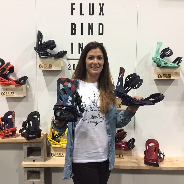 Team rider Fancy Rutherford stopped by the Flux booth at SIA in Denver to check out the GS Acid in the 2015/16 line that will drop next Fall. #sia #flux #fluxbindings #snowboard #snowboarding ❄️