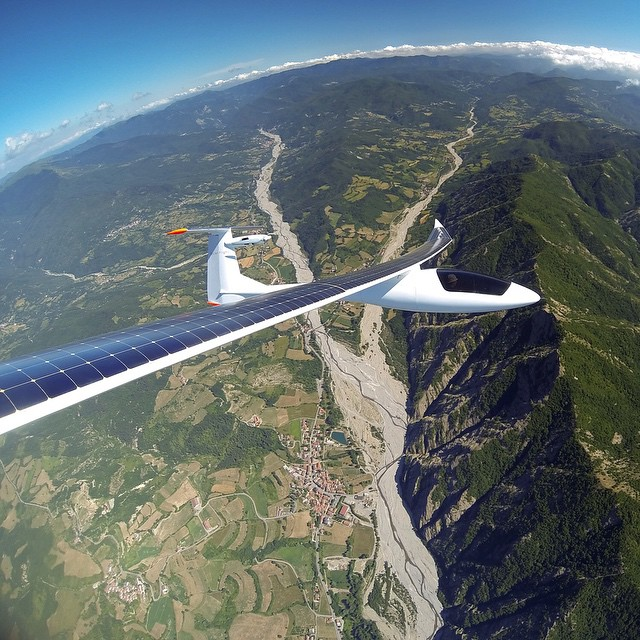 Photo of the Day! @solar_flight's Sunseeker Duo taking in the sun's rays while flying over northern Italy.