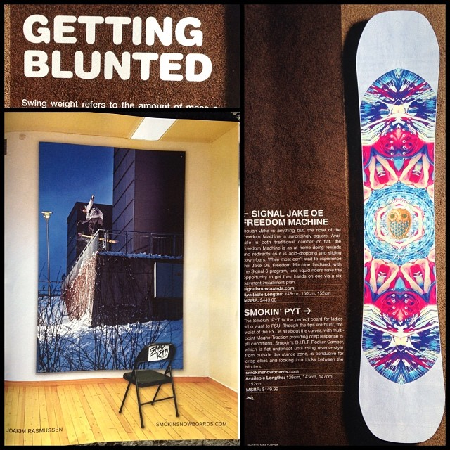 "The holiday gift guide issue of @snowboardermag featuring the PYT In the ""Getting Blunted "" board section, and our boy @joakimcrack 's Boardslide closeout ad is in there too.The issue is great, give it a peep. #forridersbyriders #handmadelaketahoe"