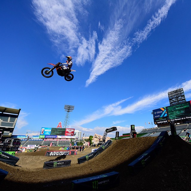 @jrhill32 has a little fun before tonight's #Supercross action at #Anaheim3.  #SEEHAPPY