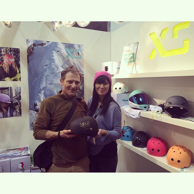 Showing off the @xshelmets x @girlisnota4letterword collab skate helmet to @artkiss64 ! #sia15 #xshelmets #girlisnota4letterword