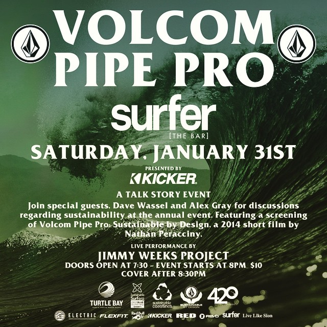 The tiki torches get lit at Surfer (The Bar) tonight at 7:30pm...so if you're on Oahu, come out to Turtle Bay Resort to hear Volcom's finest mouths, Alex Gray and @davewassel talk story about all the ocean-cooling efforts being made at the 2015 VPP — a...