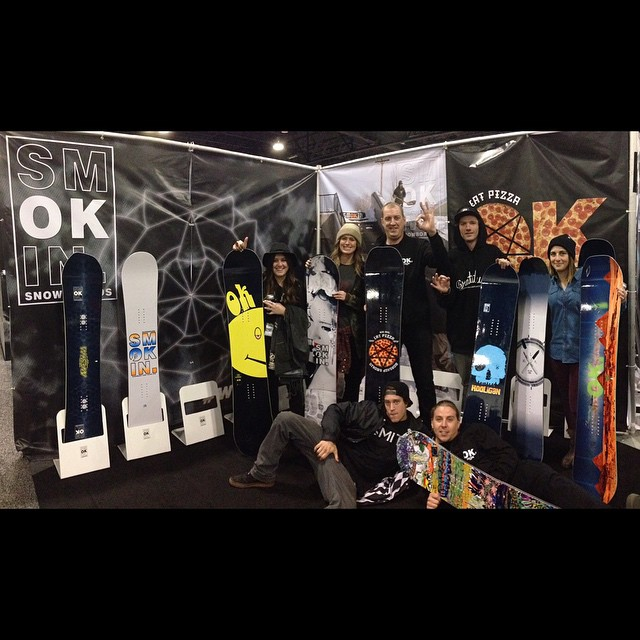 Killer week for @smokinsnowboards at #sia15 our crew keeps it