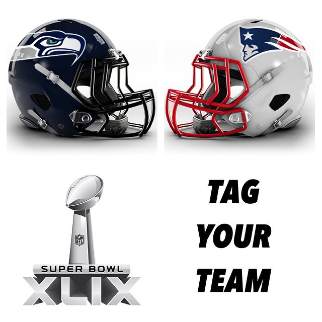 Who's going to win?! Guess your score & Tag your team in the comments below! •• Kameleonz.com #SuperBowl #Patriots #Seahawks #XLIX