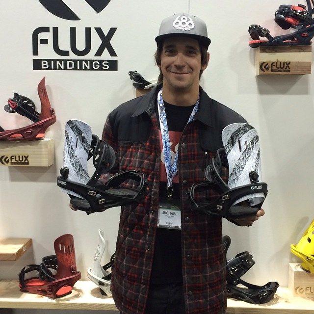Team rider @mikeegray by the Flux booth at #sia15 in Denver to check out the new 2015/16 collaboration bindings with SADAM a famous Japanese tattoo artist that will be dropping next Fall. #flux #snowboard #fluxbindings #snowboarding ❄️