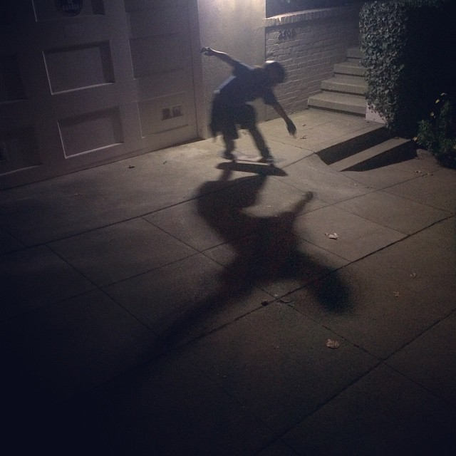Team rider Yvonne Byers--@yvonzing holds one out at night on a San Francisco driveway!  #yvonnebyers #bonzing #spunk #sanfrancisco #skateboarding #shapers #artists #skateeverything