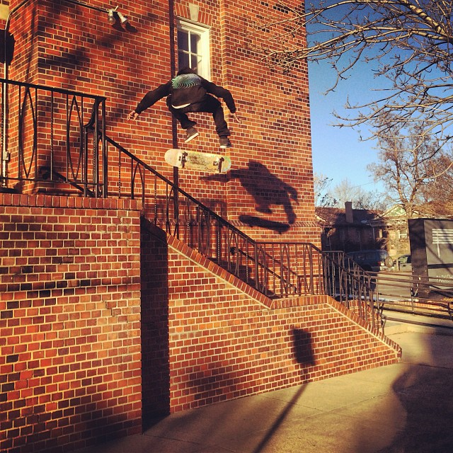Spencer Semien aka @showmeyourtitties floating a hefty #kickflip