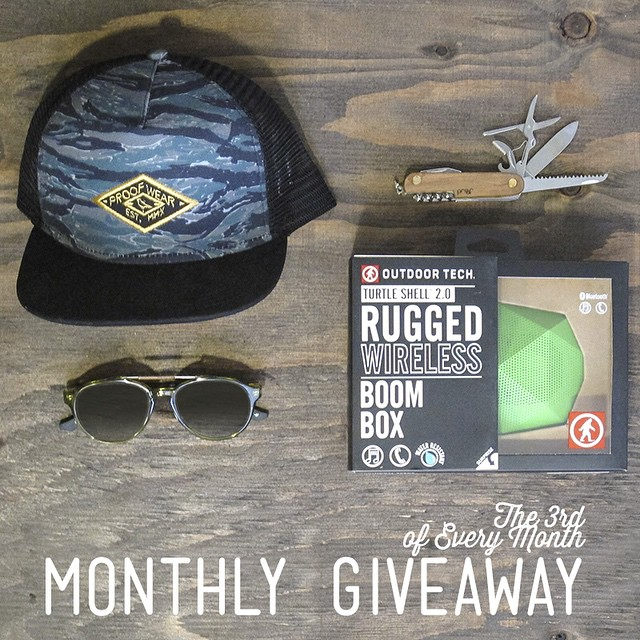 Today's the last day to enter our Monthly IG Giveaway!  We teamed up with our friends at @outdoortech - The winner will receive: The Chinook Sunglasses ($130 value), the wireless audio Turtle Shell 2.0 from @outdoortech ($99.95 value), the Tiger Camo...