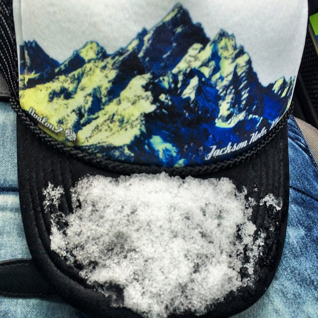 Powder in @jacksonhole the snow flakes are looking like snowballs! Tomorrow should be amazing! Went on a hike today and collected some snow on my new favorite hat by @avalon7 #powshred @neversummerindustries @kirkwoodmtn @stcrossfit @dakine_girls...