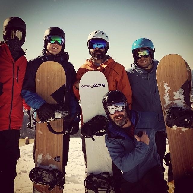 Testing new @loadedboards snowboard prototypes with @dclee @pablocastror @theboardinglife @briandolen @controlledbysquirrels. #weloveourjob