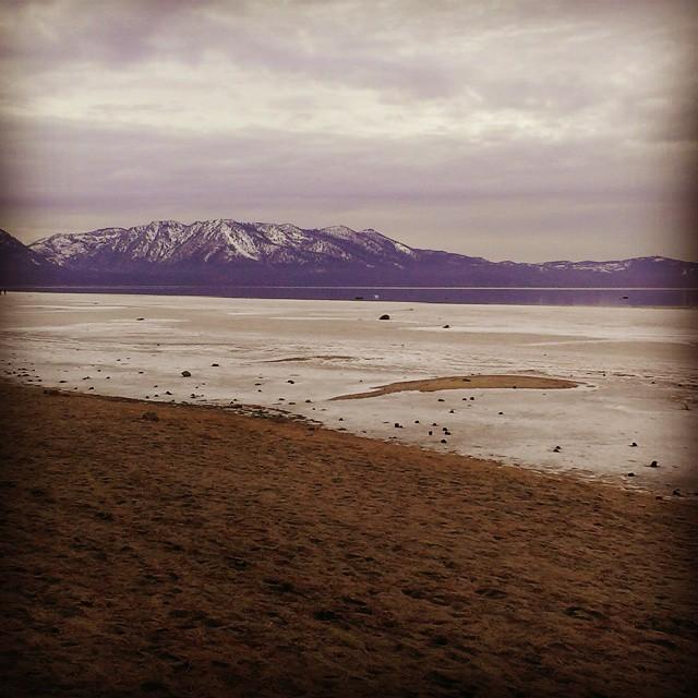 Lake Tahoe is quite low... Iced over by Regan beach.  #tahoe #lowwater #needsnow #ice #reganbeach #graniterocx
