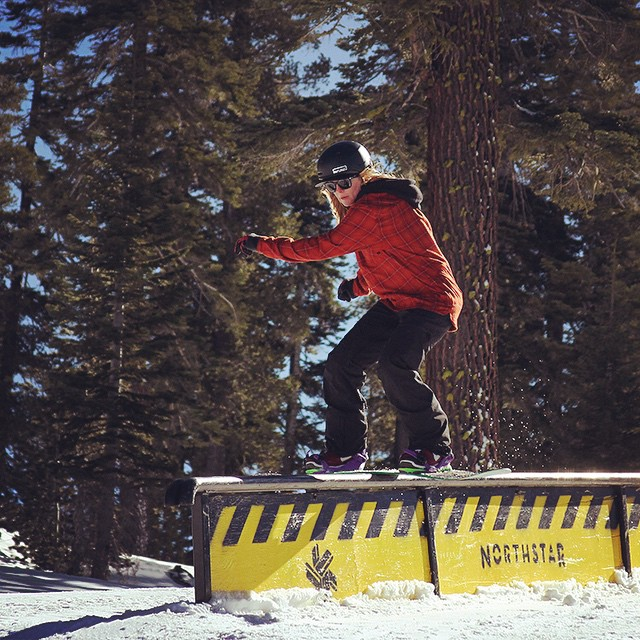 It's great working with @shutter_steez to get more shots of our riders. Here's a shot he got of Thrive rider @mayohmy while laying the @skinorthstar park. #tahoe #thrivesnowboards #prestige #snowboarding #girlswhoshred #shredbetties