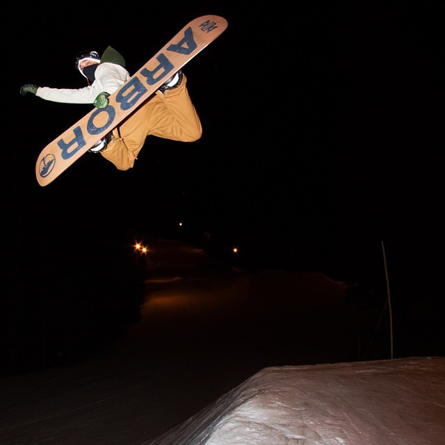#Regram from the @jupiterpeople of @iansams, blasting a Method Grab off a hip up on @snow_summit into the night. Photo