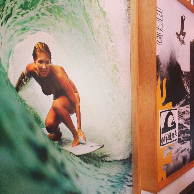 Just out of a meeting with the #QuiksilverFoundation folks to talk about supporting our work in 2015...and just had to stop by and say hello to current world champ #StephanieGilmore - or at least the life-sized poster of her getting  #Shacked !