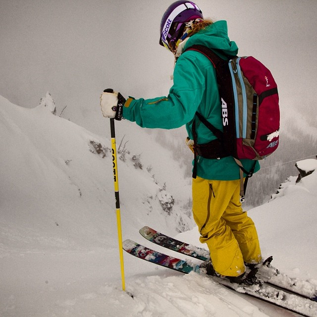 @elysesaugstad dropping in on the King @ Crystal Mtn, WA testing 2014 ladies gear.