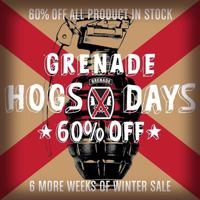With 6 more weeks of winter left you better be a #GrenadeHog and get some 60% off gear while its in stock!