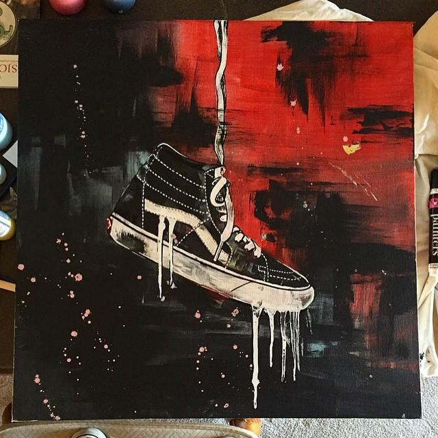 Maravillosa pintura de @nathantsykes de las #Sk8Hi, zapatilla nacida en 1978 que hoy en día es uno de los modelos más icónicos de Vans