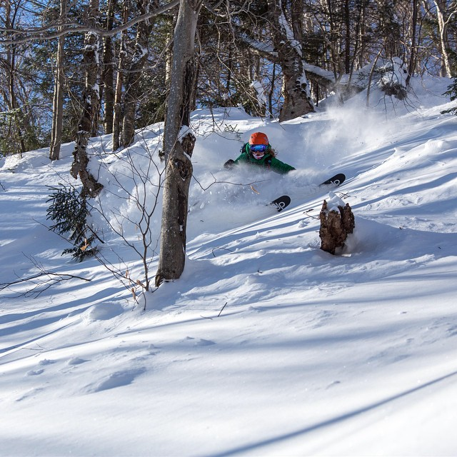 The @skitheeast crew has been getting the goods lately! @steezyweezie deep in the #Vermont #backcountry. Photo: Dana Allen // danaallenphoto.com. #skitheeast
