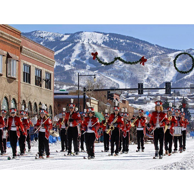In honor of the 102nd Winter Carnival in Steamboat this weekend, I'm throwing it back to my days as a band geek. Marching in leather boots and three-pin bindings while playing clarinet was pretty challenging. So cool to have been a part of this long...