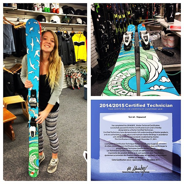 Stoked to see our ambassador Sarah Hopwood (@saz_hopwood)  get her binding technician certification and be able to show off our #sosskii at the #womensfreeskiday at @whistlerblackcomb! #sisterhoodofshred #skiing #WFD #whistler