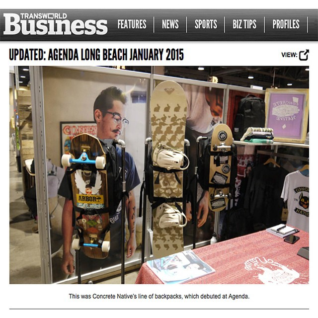 #tbt to @agendashow Long Beach and that time we were featured in @transworldbiz recap of the show!  Which was only like, a month ago. You can check it out at transworldbusiness.com #longbeach #skateboarding #backpacks #longboarding #sk8life #skatelife