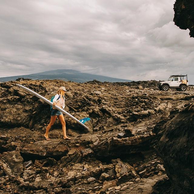 @annaehrgott enjoying the rugged terrain on The Big Island in her #innertubed sandals // Pc: @hisarahlee #hawaii #bigisland #sarahlee #soleswithsoul #goodhumancrew