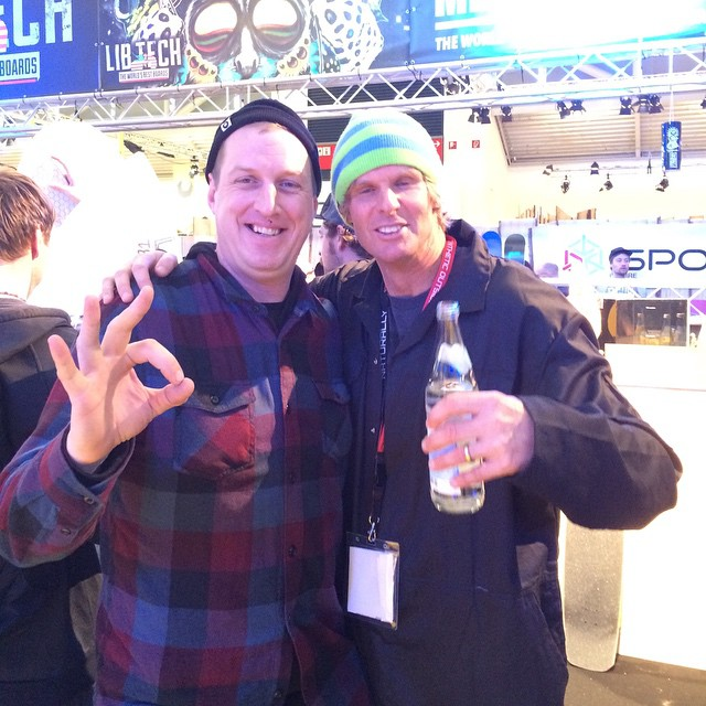 #ISPO 2015 is going hard, great hanging out with one of my mentors - Mike Olson, owner of Lib Tech. They have blessed us with #magnetraction for the last 9 years. #forridersbyriders #handmadelaketahoe #OK