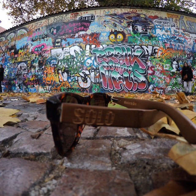 SOLOs at the John Lennon Wall in Prague!!! #travel #sunglasses #soloeyewear