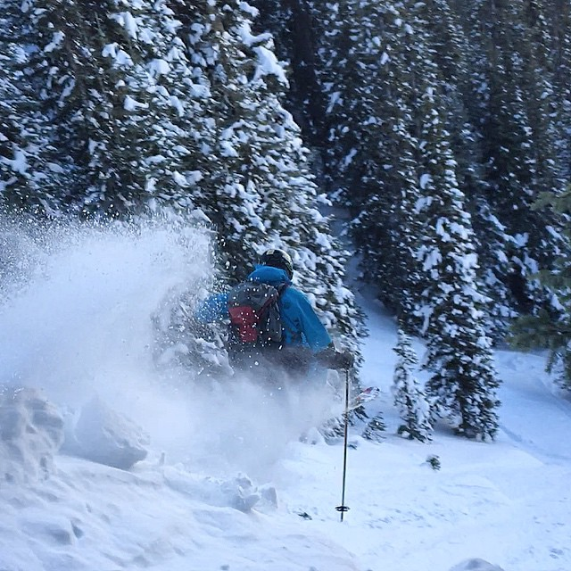 The @formergaper floating off some pillows into the air today in the backcountry! #doublehelixparty #dropcliffsnotbombs @libertyskis