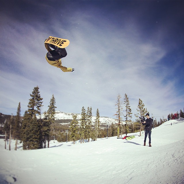 When we were shooting at @borealmtn our buddy @blake_tahoe stopped by and brought his rodeo with him. @justinliddell getting the shot. #thrivesnowboards #renegade #rodeoflip #inverted #photoshoot