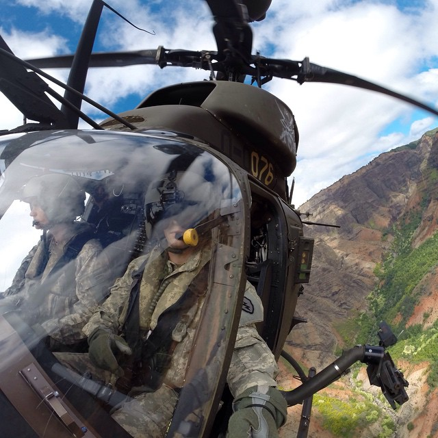 Photo of the Day! Army Kiowa Warrior Aviators cruise through Wiamea Canyon in Kauai, Hawaii. Photo by @Jnacht16.
