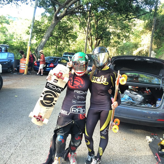 @emilylongboards takes first at Lago Cerillo downhill in ponce Puerto Rico, with @spokywoky right on her tail for 2nd!