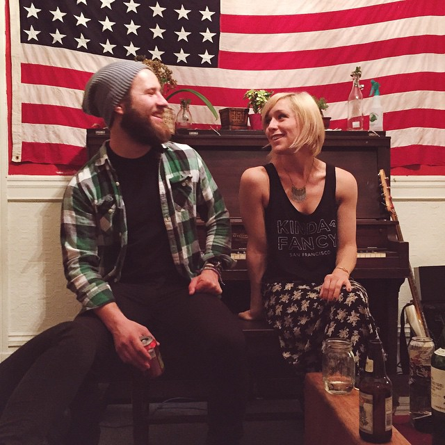 Just talkin bout how much we love America, you know? #starsandstripes #cutieontheright #whosthatguyontheleft #sanfrancisco #saturdaynight