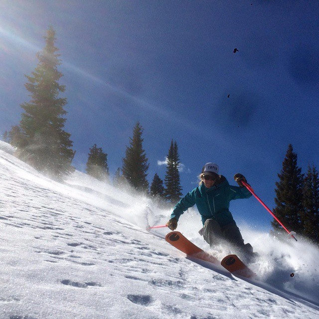 @alexriedman and #Jake 176 ripping up the #eagle county #backcountry #orangehot #bluebird @d.r.e.w.rouse