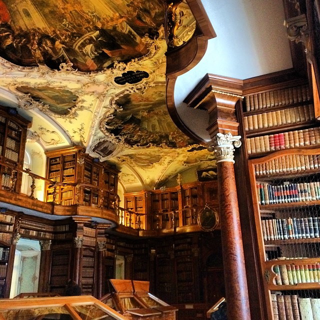 Monday office...18th century Abbey Library of St. Gall. Complete with 600AD mummy! #ISPO2015 #Quiet