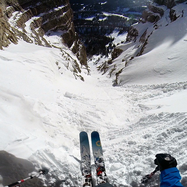 Ambassador, @joelbettner, looking down #radiotower couloir on Togwotee Pass this weekend. He said conditions were spring like and the 195cm Gambit handled the variable snow with ease. Nice work Joel!