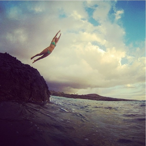 @alisonsadventures #jumping for #joy to be back in #hawaii. #starting her #next #adventure with all #new #bikinis! #sarahleephoto @gopro