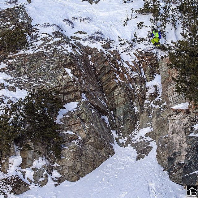 "Congratulations to Panda athlete Tyson McDonald--photographed here, (top right) dropping the infamous ""Broom Closet""--for blasting his way to his first podium last weekend at Snowbird, on Stop No. 1 of the Subaru Freeride Series! With this 4th place..."