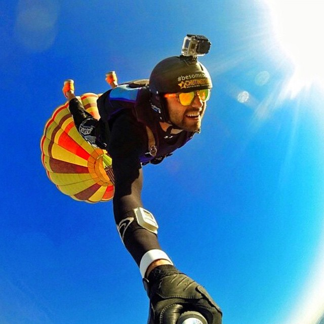 Free falling from the sky with @ducpower89 He's sporting Coconut Frames with Matte Orange Sides •• Create Your Own for less than $29 with code SUGAR •• Exp Feb 15 Kameleonz.com  #CreateYourOwn #Kameleonz #BASE #StGeorge #HotAirBalloon #Utah #Coconut...